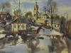 Март в Мышкине. 1993г., акварель на бумаге, 45Х65